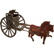 Vintage Miniature Lead Metal Doll's Toy - Horses pulling Carriage - TLC