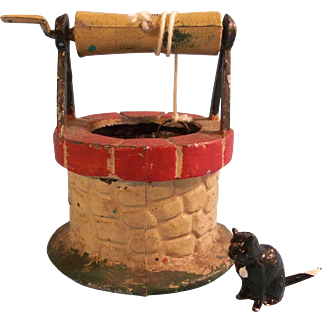 Amazing Miniature French Cold Painted Metal Wishing Well and Black Lead Cat
