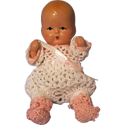 "Adorable Vintage 4"" Nancy Ann Storybook Baby Doll in Crocheted Outfit ~ Pre-Holiday Sale … Think Christmas!!!"