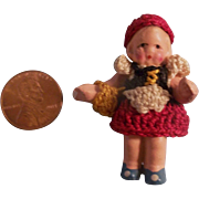 "Teeny Tiny Carl Horn 1-7/8"" Painted Bisque Doll in Crocheted Outfit"