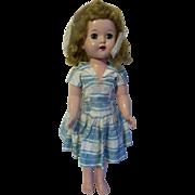 "Vintage 17"" Horseman Plastic Walker Doll with Wonderful Dress c1950s"
