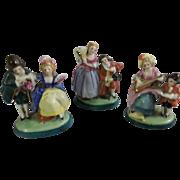 3 Lovely Vintage German Art Deco Porcelain Place Card Holder Figurines of French Lovers
