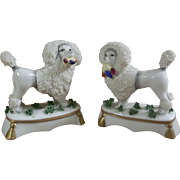 Delightful Pair of Porcelain Figurine Caniche / Poodles for your Small French Fashion or Other Favored Doll