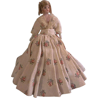 "Stunning and Sweet 6-1/4"" Simon Halbig 1160 Dollhouse Doll with Desirable Double Strap Shoes"