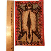 Dollhouse Rug Badger or Skunk Skin - Tobacco Flannel