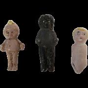 "3 Teeny Tiny Dolls - 7/8"" Cracker Jack Metal Kewpie - 1"" Black Frozen Charlotte - Carl Horn doll body TLC"