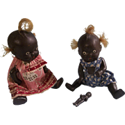 Two Adorable Vintage All Bisque African American Dolls and their Teeny Tiny Black Frozen Charlotte Doll
