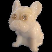 Vintage Westmoreland French Bulldog Mild Glass Figurine with Rhinestone Eyes