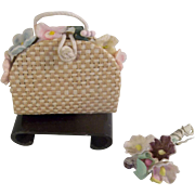 Lovely Beige Straw Doll Purse for Cissette or Barbie Doll