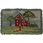 Lovely Vintage Dollhouse Hooked Rug - The Red House