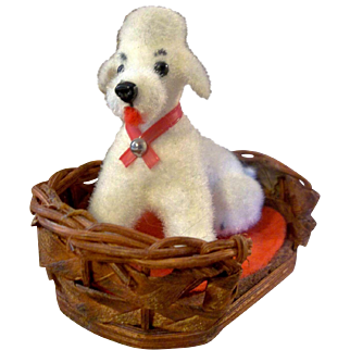 Vintage Miniature White Flocked Poodle in Basket for your Lucky Doll