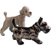 Vintage Playful Porcelain Pup Pair - A Poodle and a Scottish Terrier