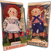"The Original 7"" Raggedy Ann and Andy - Vintage Cloth Dolls by Knickerbocker"