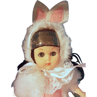 """Vintage 8"""" Poseable Vinyl Vogue Ginny Doll Easter Bunny"""