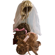 3 Pretty Vintage Synthetic Doll Wigs
