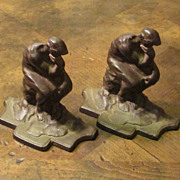 "Vintage Pair Of Cast Iron ""Thinker"" Bookends, Circa 1930"