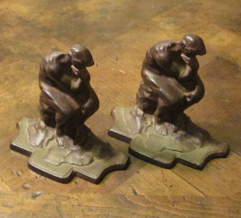 """Vintage Pair Of Cast Iron """"Thinker"""" Bookends, Circa 1930"""