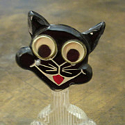 Vintage Bakelite And Lucite Google Eye Cat Brooch, Circa 1940