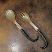 Antique Black Forest Chamois Horn Serving Set, Circa 1910