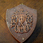 Vintage Shield Shaped Copper Snuff Box With Crown Insignia, Circa 1930