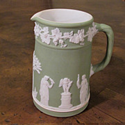 Antique Sage Green Wedgwood Jasper Ware Pitcher