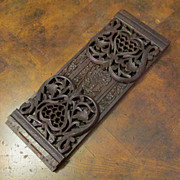 Antique Hand Carved Dark Wood Book Slide, Circa 1890
