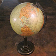 "Rand McNally 8"" Terrestrial World Globe On Iron Stand , Circa 1930"