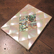 19th Century Mother Of Pearl  With Abalone Shell Card Case,