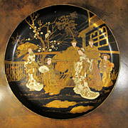 19th Century Chinoiserie Black Lacquer Papier Mache Tray