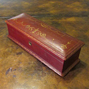 Antique Large Brown Leather Box With Key, Circa 1910