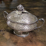 Antique Silver Plate Open Lattice Work Covered Pedestal Bowl