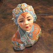 Esther Hunt Style Chalk Ware Asian Girl Bust, Circa 1920