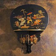 Chinoiserie Paper Mache Black Lacquer Folding Wall Shelf, Circa 1900