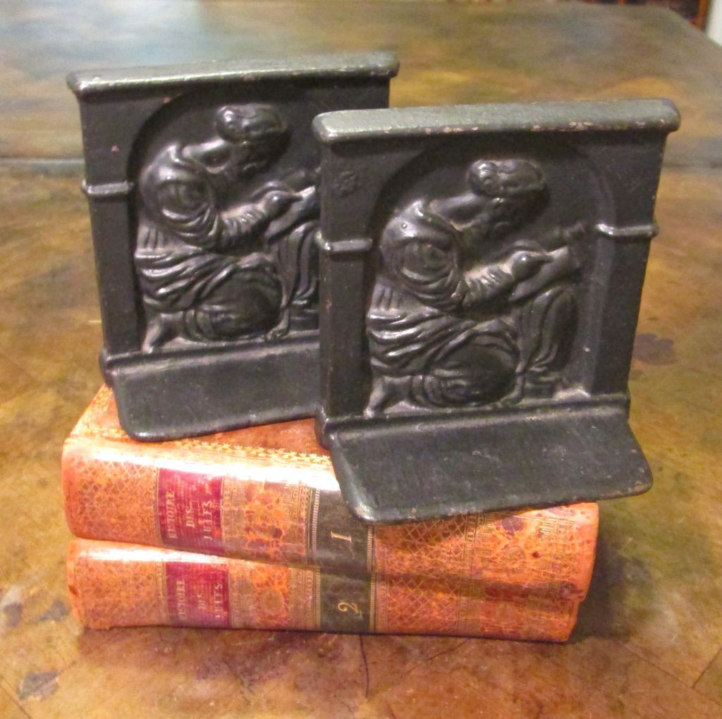 Pair of vintage cast iron figural bookends circa 1920 from ewantiques on ruby lane - Sturdy bookends ...