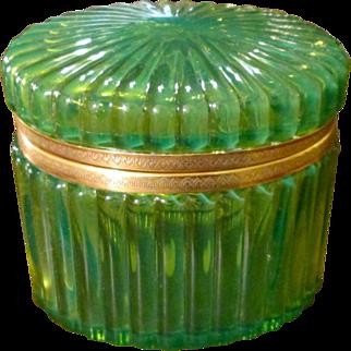 Vintage Glass Hinged Oval Box, Circa 1950