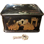 Black Lacquer Papier Mache Hinged Lid Box With Key, Circa 1900