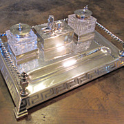 Silverplate English Egyptian Revival Inkstand, Circa 1880