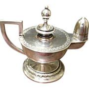 Vintage Silver Plate Aladdin's Lamp Table Lighter, Circa 1930