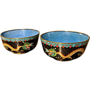 Antique Pair Of Chinese Cloisonne Bowls With Dragon Design