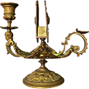 Ornate Antique Bronze Chamber Stick With Match Holder
