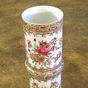 Antique Chinese Export Rose Medallion Cylindrical Vase, Circa 1860