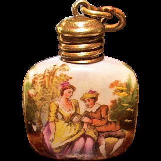 Antique Miniature Porcelain Scent Or Perfume Bottle, Circa 1900
