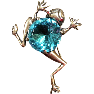 Vintage Figural Sterling Silver Frog Brooch With Gold Wash And Large Aqua Colored Center Stone, Circa 1940