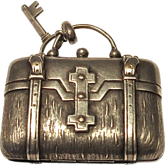 Silver Plate Suitcase Locket With Sterling Key