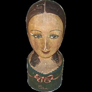 Vintage French Papier Mache Milliner's Head, Circa 1930