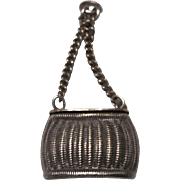 Vintage Silverplate Fishing Creel Charm