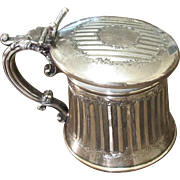 Silver Plate Shaving Mug With Beveled Mirror, Circa 1910