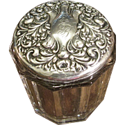 Large Ornate Sterling And Glass Dresser Jar, Circa 1910