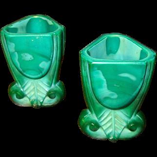 Two Malachite Glass Art Deco Liqueur Glasses, Circa 1930