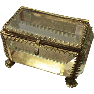 Antique French Beveled Glass Trinket Box